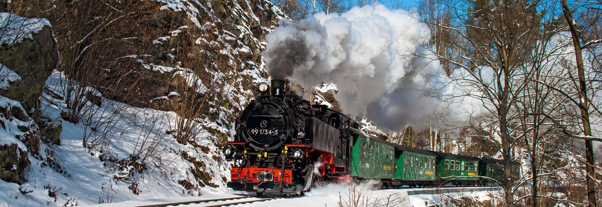 Sonniges Winterbild mit dem Dampfzug