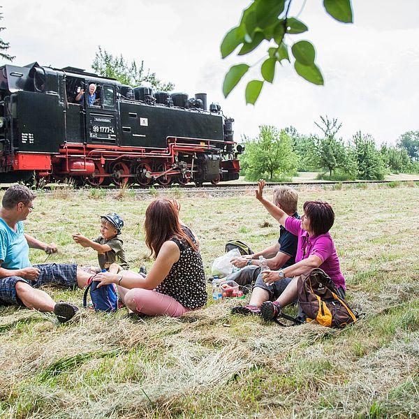 Picknick auf der Wiese mit dem Dampfzug im Hintergrund